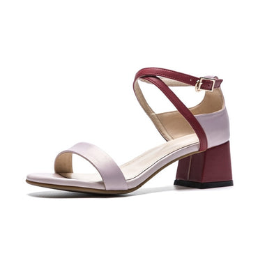 genuine leather mixed colors square buckle casual sandals
