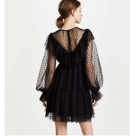 Wave Point Chiffon Lantern Long Sleeve Sexy Mini Black Dress