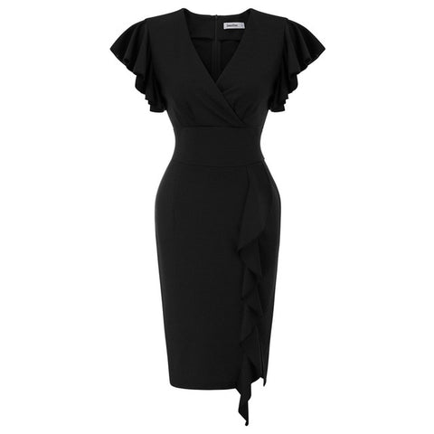 Ruffle Sleeve V Neck Split Front Wrap Dresses