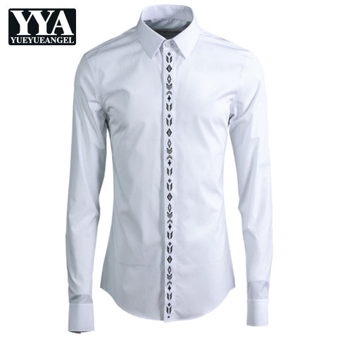 Cotton Long Sleeve Geometric Embroider Dress Shirts