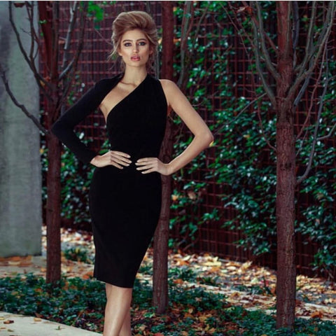 One Shoulder Knee Length Black Dresses