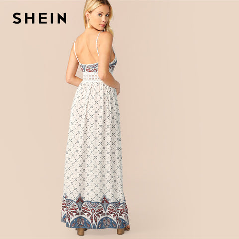 White Lace Insert Paisley Print Split Maxi Boho Bohemian Dress
