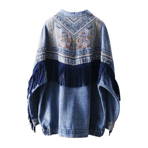 blue loose embroidery rivet tassel pocket Bohemian Jackets Coats