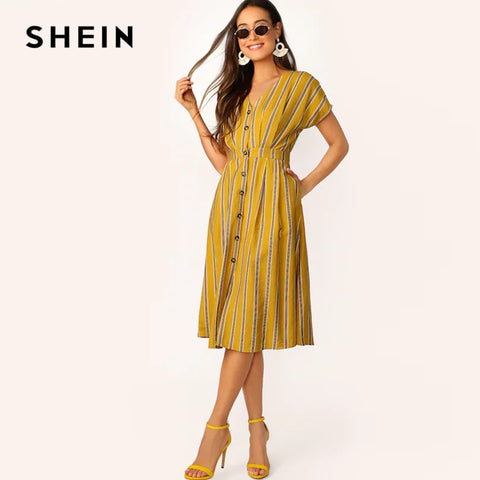 Batwing Sleeve Pocket Side Striped Boho Bohemian Dress