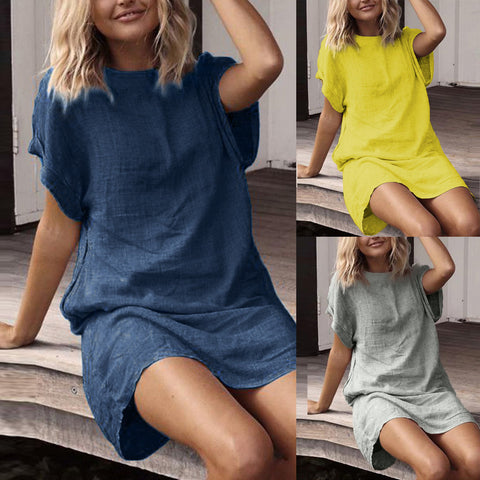 Solid Short Sleeve Casual Dress