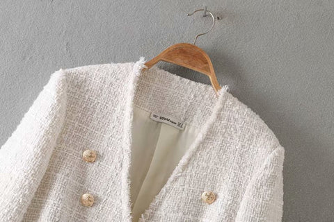 elegant white double breasted V neck buttons jacket