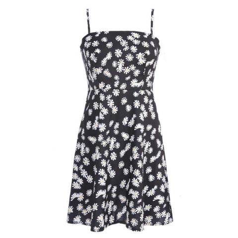 Printed Spaghetti Strap High Street Backless A line Print Dress