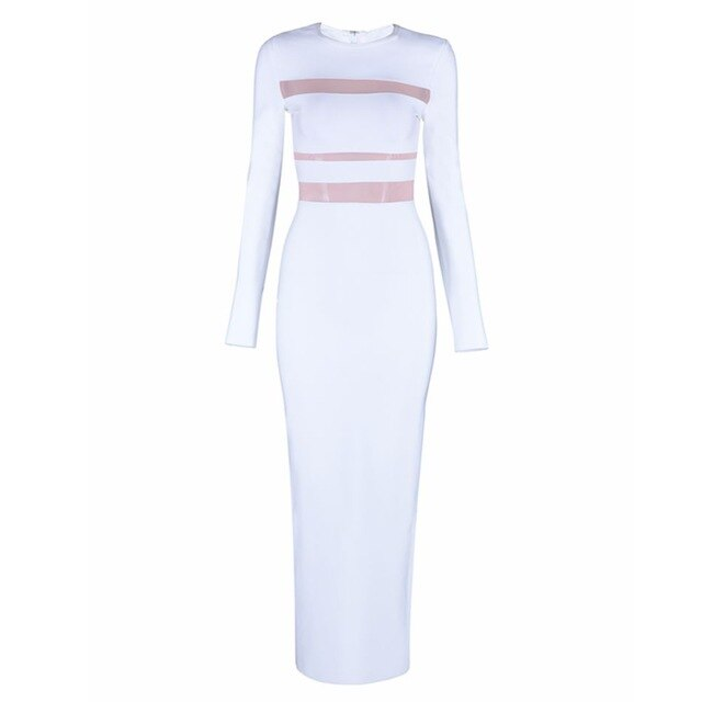 Celebrity Party White Long Sleeve O Neck Sexy Maxi Dresses