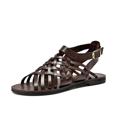 Cow Leather Gladiator Buckle Closure Sandals