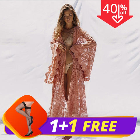 Sexy Long Sequined Patchwork Lace Cardigan Chiffon Kimono