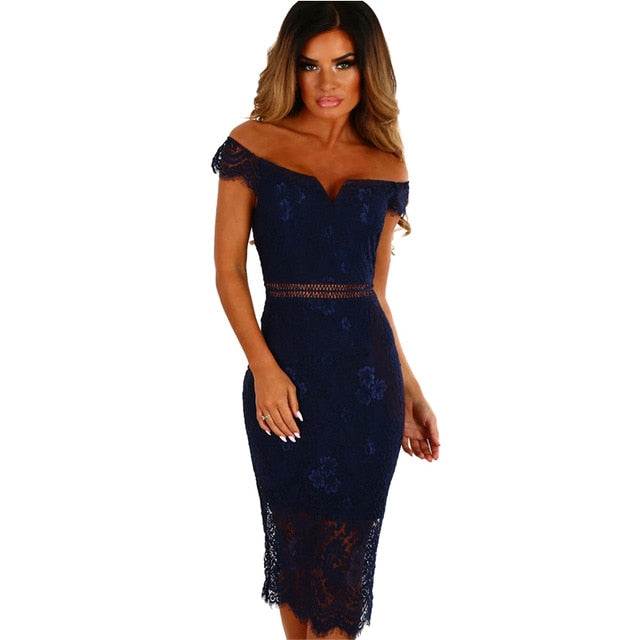 Bodycon Midi Off Shoulder Dress