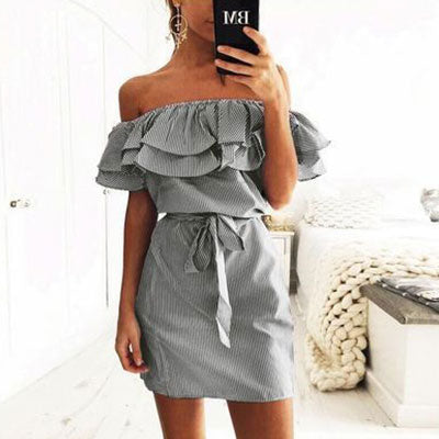Sexy Slash Striped Ruffle Sleeveless Lace Up Above knee Casual Dress