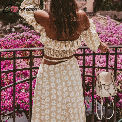 Twist Off Shoulder Casual Print Floral Dress