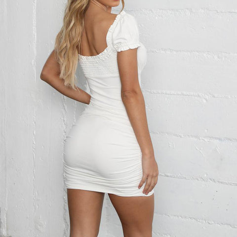 Sexy Solid Square Neck Short Sleeve Lace Up Ruched Bodycon halter Mini Dress