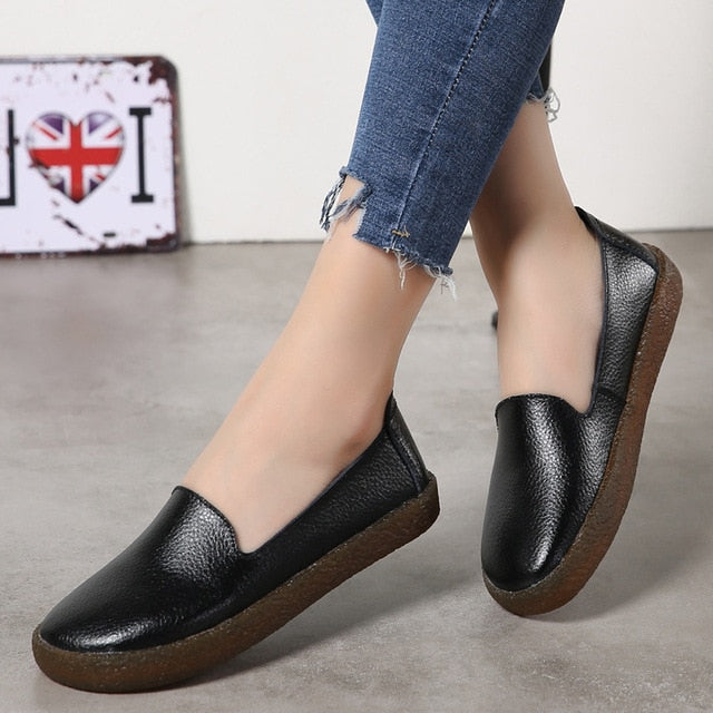 White Genuine Leather Soft Casual Leather Flat Shoes