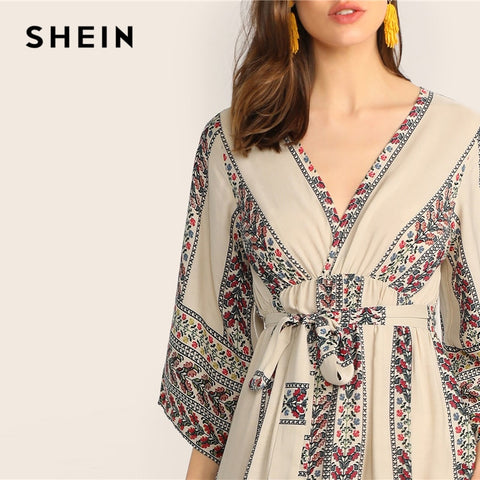 Bell Sleeve Wrap Ditsy Floral Belted Boho Bohemian Dress
