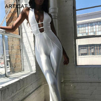 Cotton Sexy Hollow Out Sleeveless Backless Skinny Jumpsuit