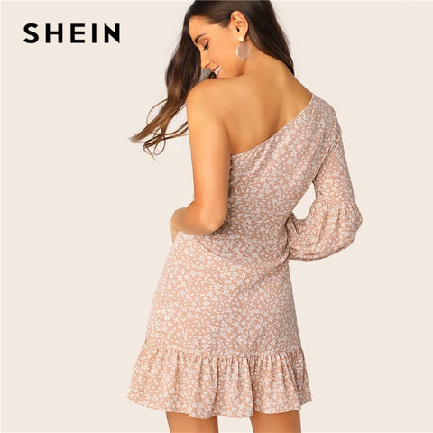 Floral One Shoulder Lantern Sleeve Ruffle Boho Bohemian Dress