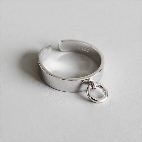 Sterling Silver Glossy Hollow Small Circle Ring