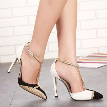 Pointed Toe Ankle T-tied Thin Heels