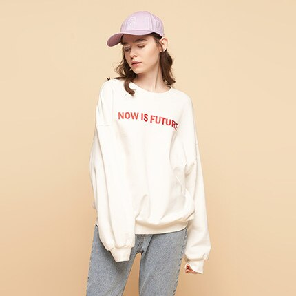Letter Printed O Neck Long Sleeve Sweatshirt