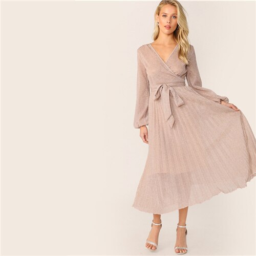 Surplice Neck Belted Pleated Glitter V neck Wrap A Line Wrap Dresses