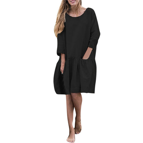 O Neck three quarter Sleeve Ruffle Swing Cotton Solid Color Knee Length Casual Dresses