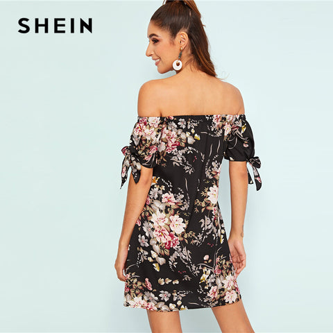 Botanical Print Tie Cuff Off Shoulder Floral Dresses