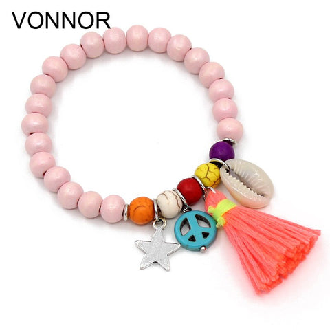 Shell Tassel Colorful Wood Beads Charm Bracelet Boho Bohemian Accessories