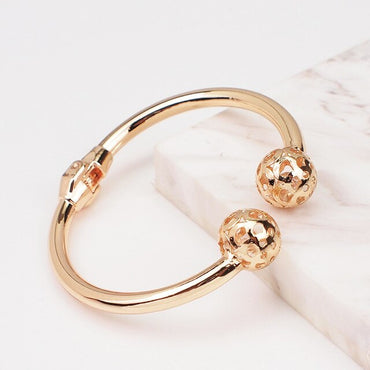Alloy Gold Color Metal Charm Geometry Statement Cuff Bangles