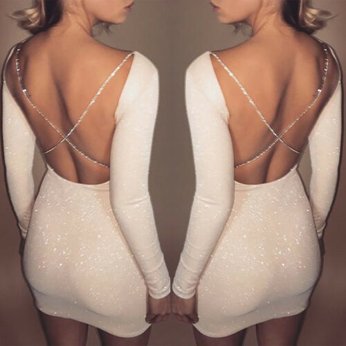 Long Sleeve Backless Bodycon Dresses