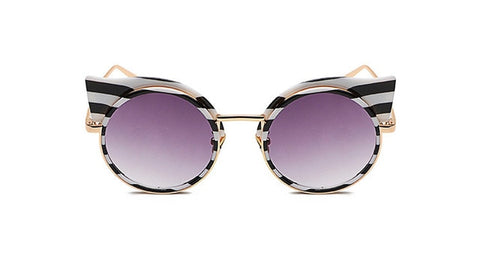 Stripe Cat eye Zebra Metal Frame Vintage Round Sunglasses