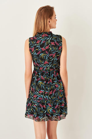 Black Flower Print Dresses