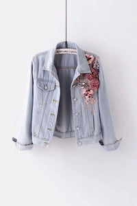 Embroidery Three Dimensional Flowers Pearl Bead Denim Jackets