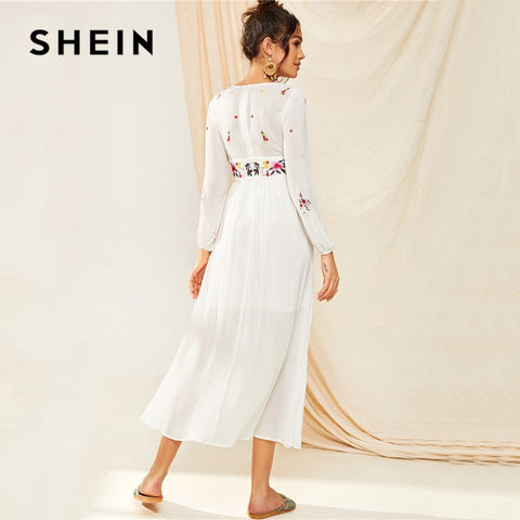 Tassel Trim Floral Embroidered White Bishop Sleeve Boho Bohemian Dress