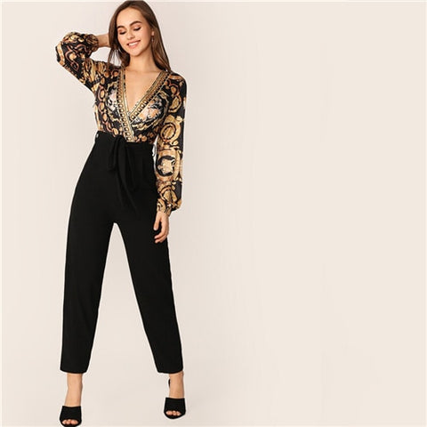 Scarf Print Belted Surplice Long Sleeve Sexy Black Wrap Knot Deep V Neck Jumpsuit