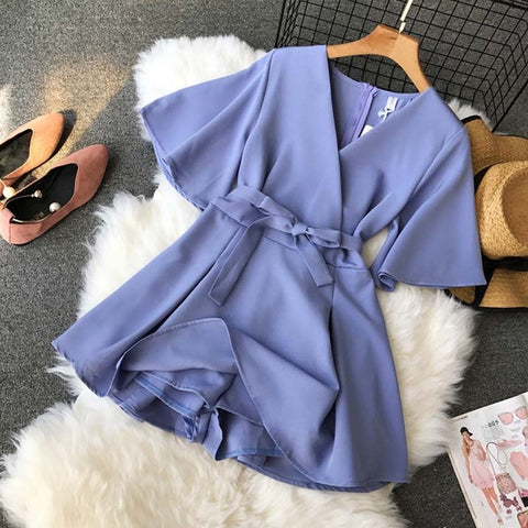 V neck flare sleeve solid color Vintage Wide leg shorts rompers