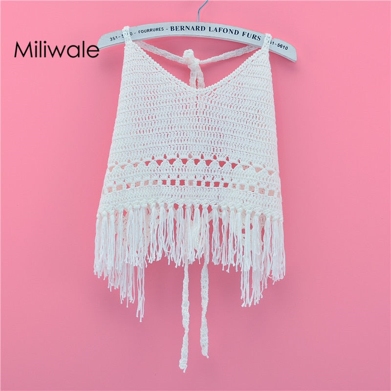 straps hollow out knitted tassel bikini cover white Boho Bohemian Tops