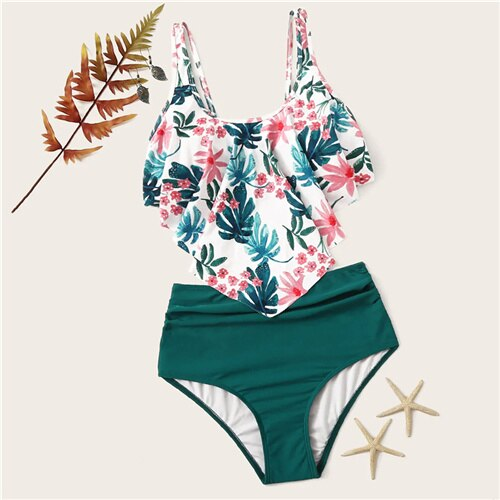 Set Exaggerated Ruffle Ruched Tropical With Ruched Bikini