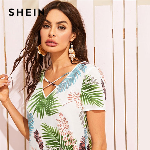 V Neck Tropical Print Shift Short Sleeve Boho Bohemian Dress