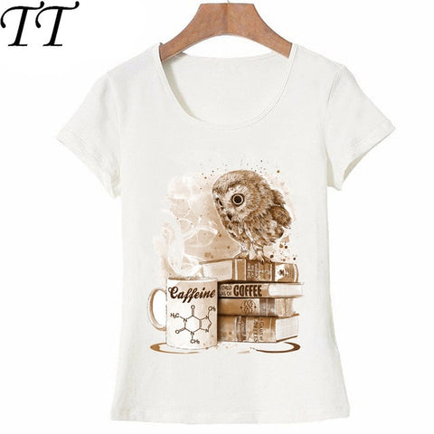 Vintage Owl Design Coffee Obsession Owl Print T Shirt