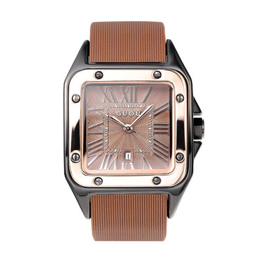 Square Roman Numbers Rose Gold Case Rubber Silicon Dress Watch