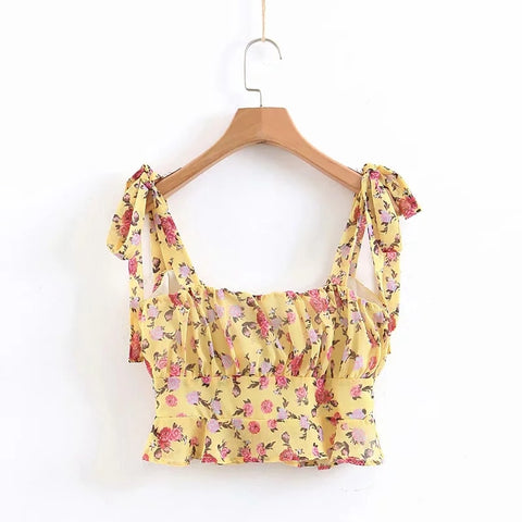floral print cropped sleeveless sexy Boho Bohemian Tops