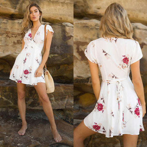 Short Sleeve Casual Print Deep V Neck Floral Dress
