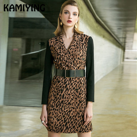 Long Sleeved Sexy Back Zipper Leopard Dresses