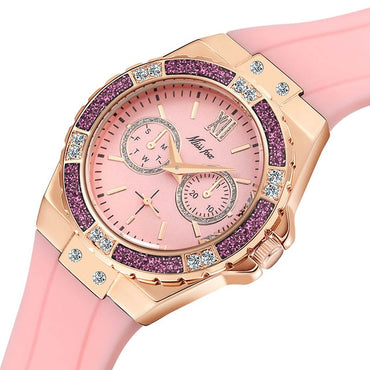 Chronograph Rose Gold Diamond Blue Rubber Sport Watch