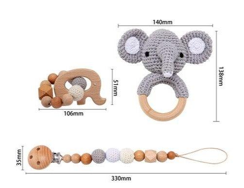 Pack of 3 - Pacifier chain, Handmade Crochet Rattle Toy & Baby Teether