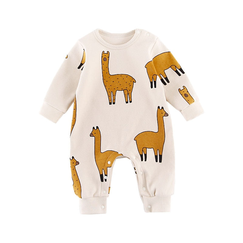 Long Sleeve Cotton Romper for Babies & Toddlers - Llama