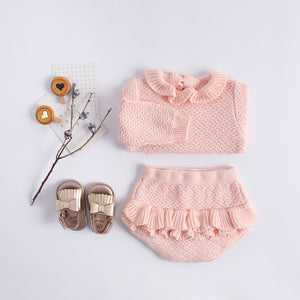 Ruffled Long Sleeve Sweater & Bloomer Set for Baby Girls