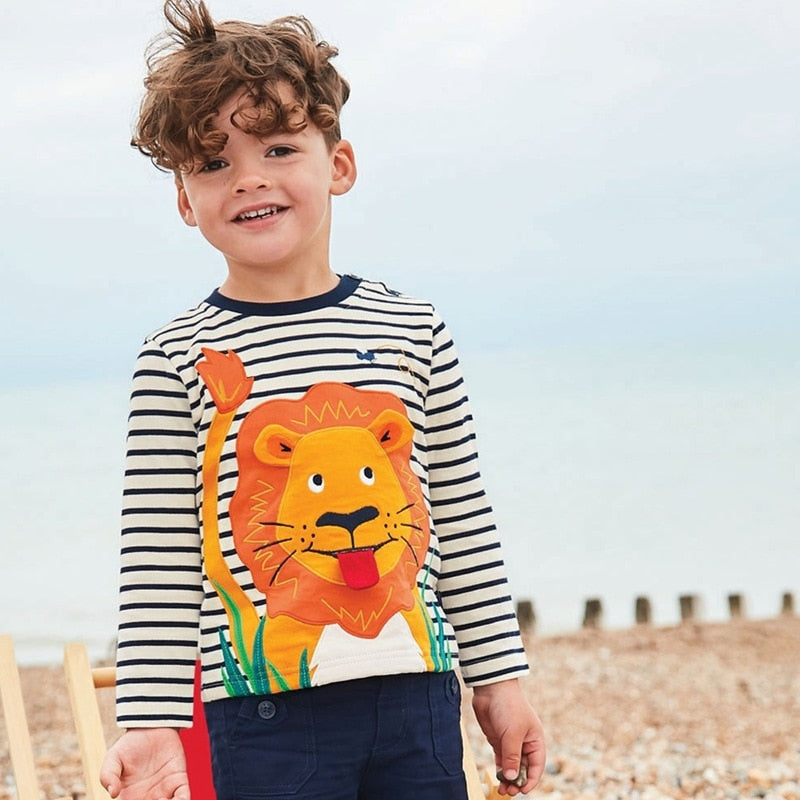 Autumn Long Sleeve T Shirt for Toddler Boy - Lion & Bee